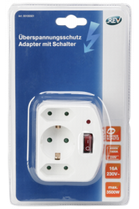 Obrázek pro REV 3-fold Adapter with switch and Surge protector white