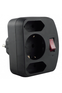 Obrázek pro REV Adapter surge protection black, 3-gap, switch