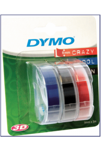 Obrázek pro 3x1 Dymo Embossing Labels Multi-Pack 9mm (red/blue/black)