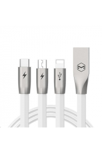 Obrázek pro Mcdodo Zinc Alloy Series USB AM To Lightning + Micro USB + Type-C Charging Cable (1.2 m) White