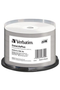 Obrázek pro VERBATIM DVD-R(50-Pack)Spindle/Printable/16x/4.7GB/WIDE PRINTABLE SURFACE NON-ID