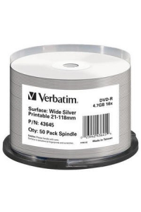 Obrázek pro VERBATIM DVD-R(50-Pack)Spindle/Printable/16x/4.7GB/NON-ID /Silver Inkjet
